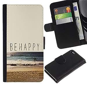 """Apple iPhone 4 / iPhone 4S , la tarjeta de Crédito Slots PU Funda de cuero Monedero caso cubierta de piel ("""" Be Happy Beach Summer Sun Nature Surf"""")"""