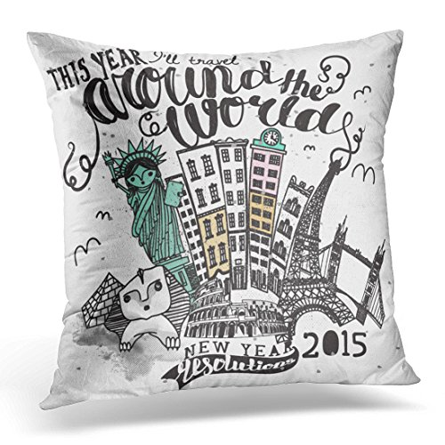 Duplins Vintage Travel Around the World Advertisement with Hand Lettering and Famous Landmarks Including Statue Decorative Pillow Cover 16x16 Inches Throw Pillow Case Square Home Decor Pillowcase