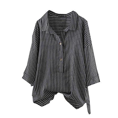 Mlide Camisa con Estampado de Rayas, Manga Larga, Cuello de solapa suelta, Camiseta con Cuello en V y Tops para Mujer Black ()