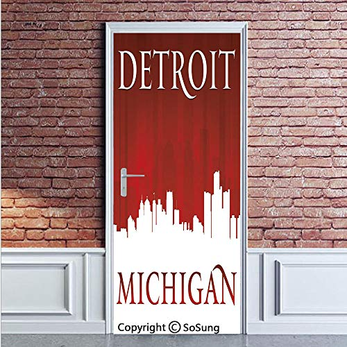 (Detroit Decor Door Wall Mural Wallpaper Stickers,Michigan City Silhouette Red and White Composition Classical Typography,Vinyl Removable 3D Decals 35.4x78.7/2 Pieces set,for Home Decor Red and White)
