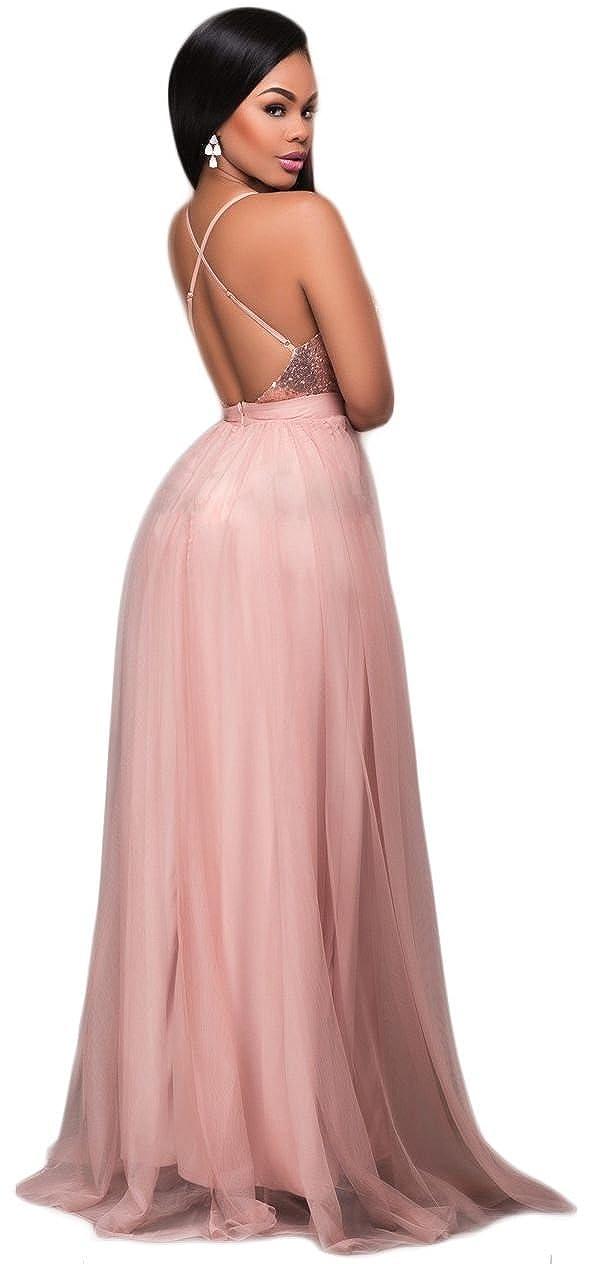 Women Sexy Sequin Mesh Splice Deep V Neck Sleeveless Cocktail Long Maxi  Dress at Amazon Women s Clothing store  aaed309b0