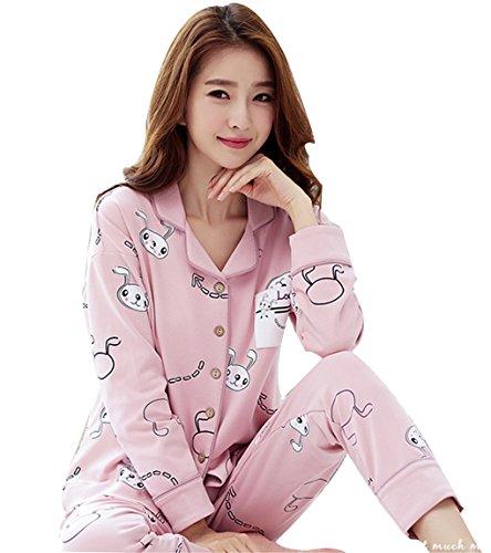 donna colorato con pigiama coniglio pantaloni bottoni a Set da design lunghe Pigiameria e Rosa Naughtyspicy Top maniche S6gq4wx