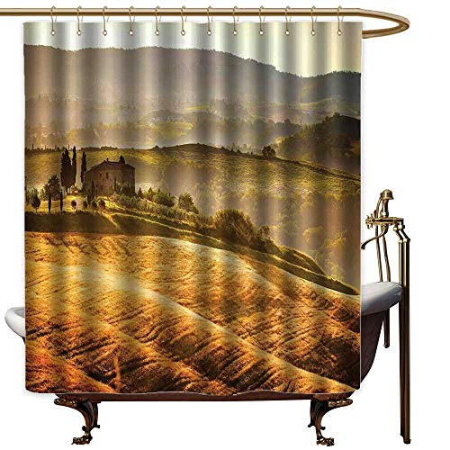(Qenuanmpo Camper Shower Curtain Tuscan,Siena Tuscany Retro Farm House Trees Old Path Country Landscape on Sunset,Ginger and Green,Metal Rust Proof Grommets Bathroom Curtain 72