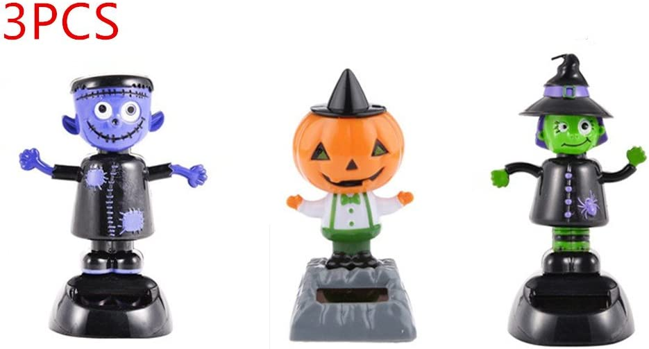 URToys 3Pcs Desk Dancing Solar Toy Pumpkin &Witch& Ghost Doll Solar Powered Toys Dashboard For Car Oranment Office Desk Home Decor Novelty Solar Kids Halloween Supplies Toy