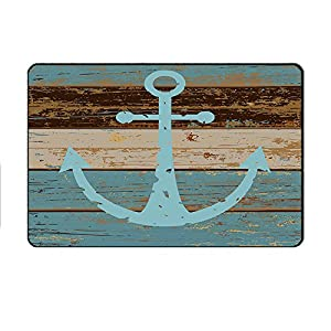 "Changyun Vintage Retro Nautical Anchor Flannel Microfiber Bathroom Rug - Turquoise and Brown Non-slip Indoor/Outdoor/Front Door Mats (23.6""x15.7"",L x W)"