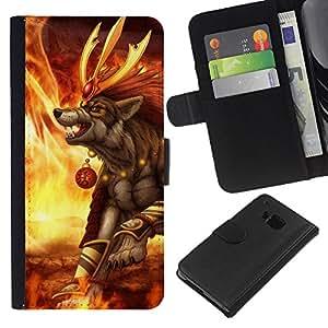 HTC One M9 - Dibujo PU billetera de cuero Funda Case Caso de la piel de la bolsa protectora Para (Hilarious Burger - Funny)