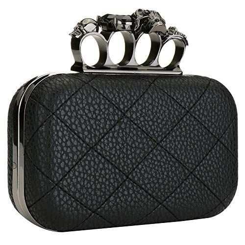 EROUGE Leather Quilted Handbag Purse Retro Women Evening Bag with Skull Crystal Designer Clutch