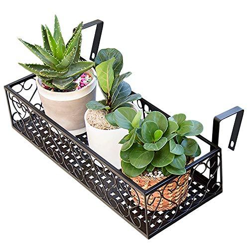 (MORINN Iron Hanging Shelf Basket with Hooks, Balcony Flower Pot Holder Railing Shelf, for Patio Porch or Fence (M, 19.6