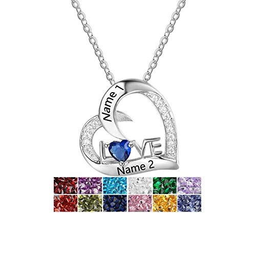 Lam Hub Fong Personalized Simulated Birthstone Heart Necklace for Mother Customized Relationship Name Necklace For Couples by Lam Hub Fong