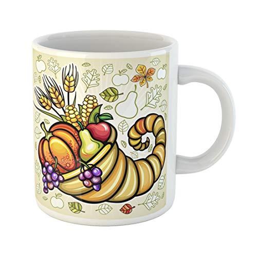 Semtomn Funny Coffee Mug Green Fruit Thanksgiving Harvest Cornucopia Orange Basket Food Day Pumpkin 11 Oz Ceramic Coffee Mugs Tea Cup Best Gift Or - Basket Holiday Fruit Greetings