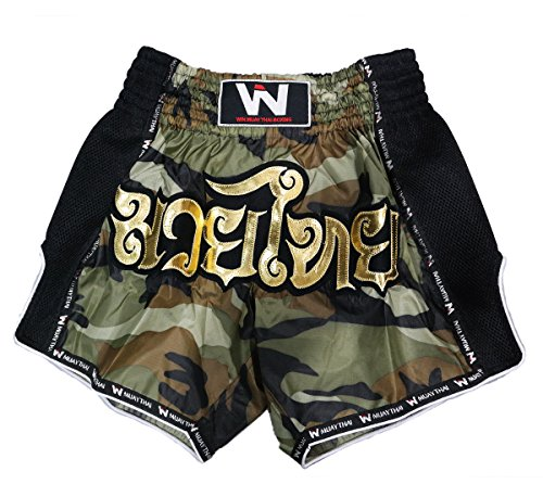 - Lumpinee Retro Original Muay Thai Shorts for Kick Boxing Fight LUMRTO-010 (L, Camo Green)