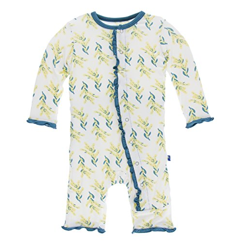 Classic Coverall (Kickee Pants Print Classic Layette Ruffle Coverall With Snaps Golden wattle (3-6 Months))