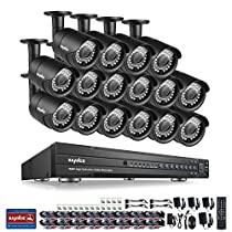 SANNCE 1080P 16CH Video Security System and (16) HD 1080P Bullet Cameras with IP66 Weatherproof Housing, 100ft IR LED Night Vision, Motion Detection -- NO HDD