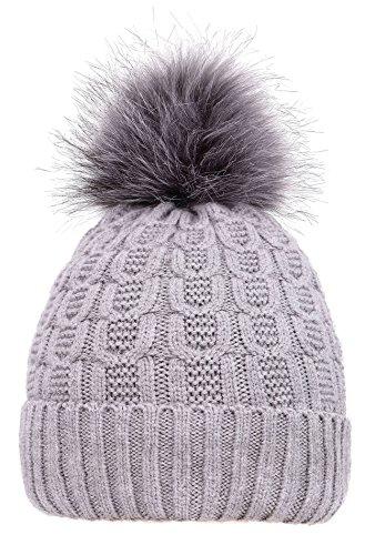 Men & Womens Luxurious Faux Fur Pompom Thick Knit Winter Beanie,Grey