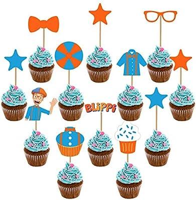 12pcs Set Blippi Cake Toppers Picks Cupcake Decoration Kids Birthday Party Supplies Gift