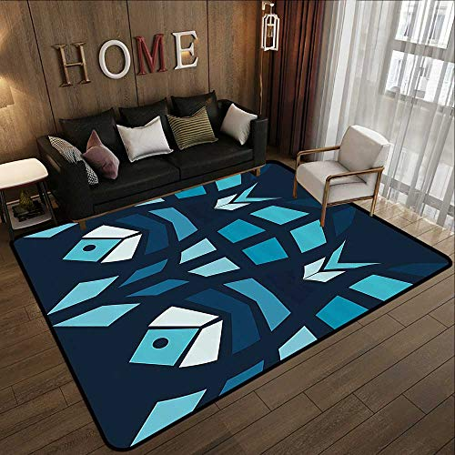 Outdoor Rugs,Mosaic,Ceramic Style Fractal Fish Icon in Depth Aquarium Sea Illustration,Sky and Dark Blue Navy White 71