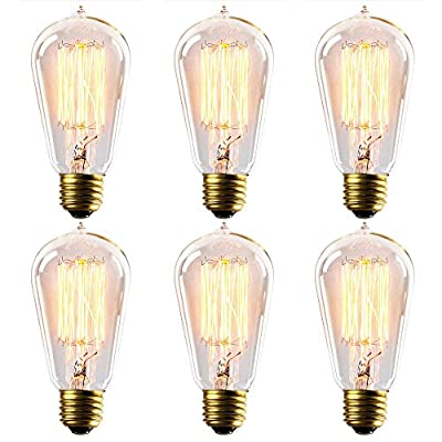6 Pack Kiven 60w Edison Light Bulb Nostalgic Waterdrop Top Shape E26 Dimmable Filament Incandescent Bulbs(60w