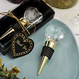 96 Gold Bottle Stoppers with Crystal Heart Design