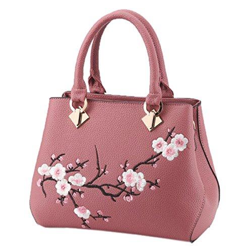 Wu Zhi Las Señoras PU bolso De Hombro Bolsa De Mensajero Pink