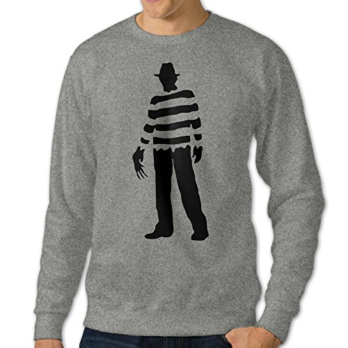 Billion Dollar Baby Costumes (JXMD Men's Nightmare On Elm Street Freddy Krueger Pizza Crewneck Hoodies Ash Size S)