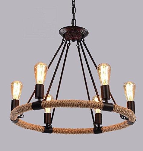 Amerikanischen ländliche Eisen Seil Circular Edison Kronleuchter für Wohnzimmer Bar Kaffee Schlafzimmer Studie