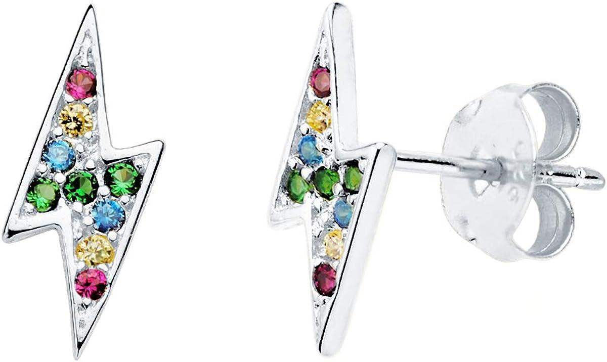 Iyé Biyé Jewels - Pendientes niña mujer plata de ley 925 diseño rayo con piedras de colores 12 x 5 mm. Joya con cierre de presión