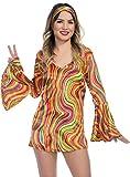 Charades Women's Rainbow Lights Disco Diva Dress, As Shown, Medium
