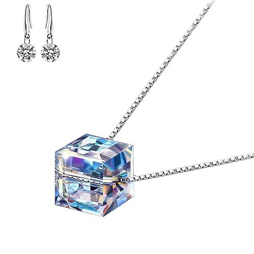 9f73ad1ecea0 Lv.unique Collar de Plata 925 para Mujer Collar de Cristal Aurora Colgante  Cadena Larga Ajustable Largo  Amazon.es  Joyería