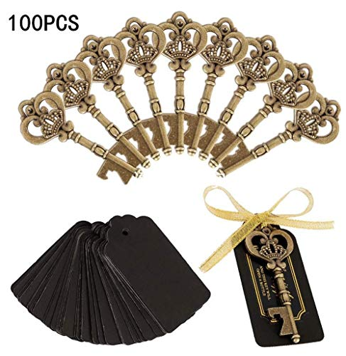 Bottle opener with labels and string for party decoration, wedding souvenirs, for guests, Free gold bandage tag paper card for retro parties, bottle opener - pack of 50/30 (Color : -