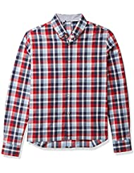 Tommy Hilfiger Men's Adaptive Magnetic Long Sleeve Button Down Shirt for Seated Wear Slim Fit
