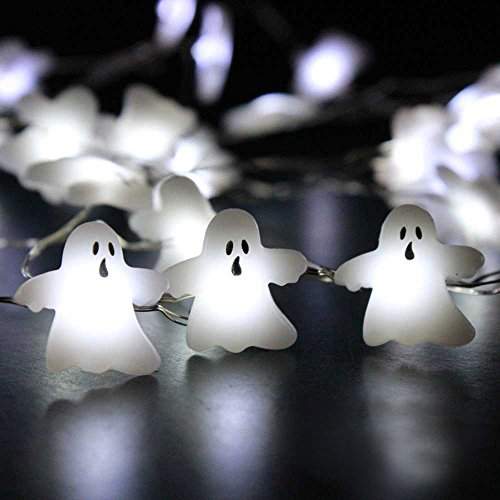 (Impress Life String Lights for Cosplay Party Decorations, Ghost Horrific Themed Lights 40 LEDs 10 ft Wire with Remote & Timer for Home, Living Room, Office, School Decorative)