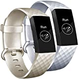 Tobfit Bands Compatible with Fitbit Charge 3 Bands for Women Men Replacement for Fitbit Charge 3 SE Accessories Classic Sports Wristbands, 2 Pack (Champagne Gold/Silver, Small)