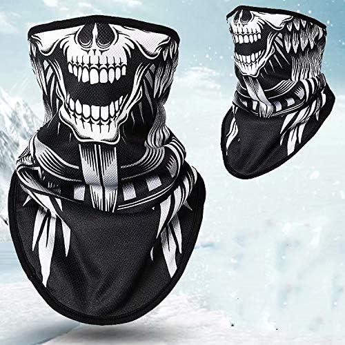 LINSUNG Biker Radfahren Fleece Half Face Mask Motorrad HD einzigartige Dehnbare Winddichte Gesichtsmaske weich verdicken schwarz Tribal Classic Skull Headwear ATV Style 1