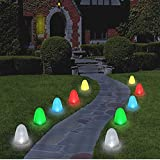 """Outdoor Christmas Pathway Marker Lights - Gumdrop Driveway Sidewalk 8"""" Tall Sugar Coated LED Decorations,10 Candy Covers Included!"""