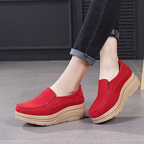 Shoes Aon Low Top On Women Red Slip Platform Karen Wedge Comfort Moccasins Loafers Suede Wide Ov1xw1dcFq