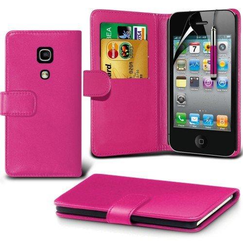 Apple iPhone 4/ 4s Cubierta del caso con cuero (Rosa caliente) Plus de regalo libre, Protector de pantalla y un lápiz óptico, Solicitar ahora mejor caja del teléfono Valorado en Amazon! By FinestPhone