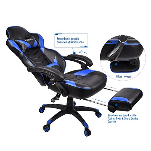 ELECWISH Ergonomic Computer Gaming Chair, PU Leather High Back Office Racing Chairs With Widen Thicken Seat And Retractable Footrest And Lumbar Support, Large, Blue by ELECWISH (Image #5)