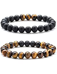 Men Women 8mm Tiger Eye Stone Beads Bracelet Elastic Natural Stone Yoga Bracelet Bangle
