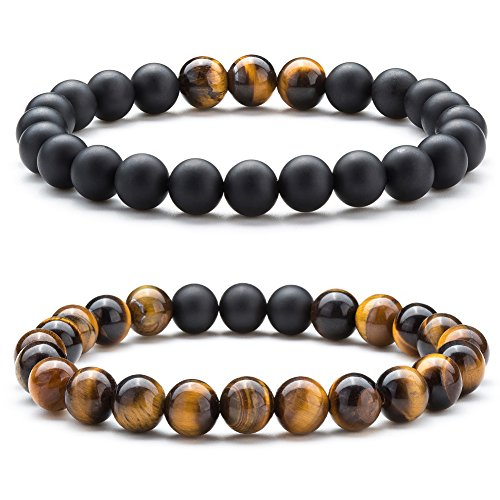 Hamoery Men Women 8mm Tiger Eye Stone Beads Bracelet Elastic Natural Stone Yoga Bracelet Bangle (Set1)