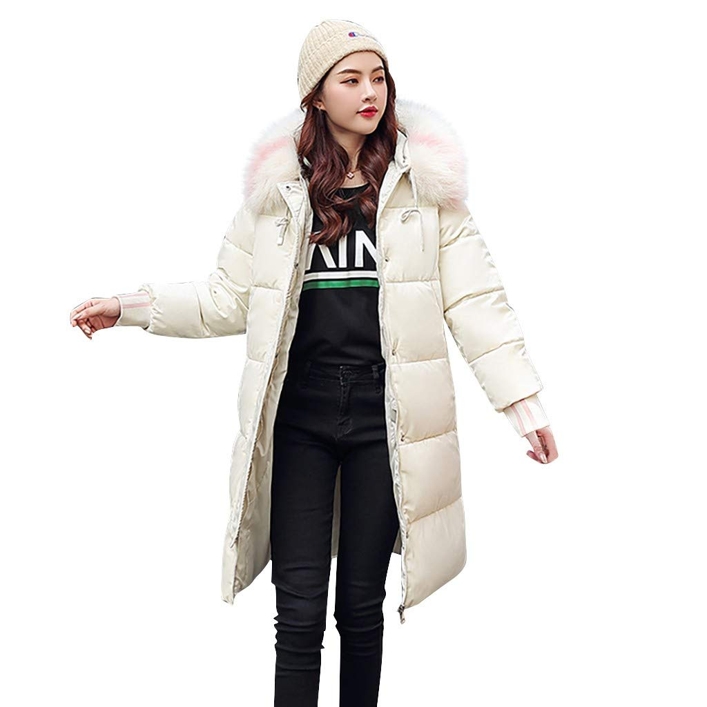 Vintress Women's Coats Women's Fashion Outerwear Long Cotton-Padded Jackets Hooded Coats with Pocket by Vintress