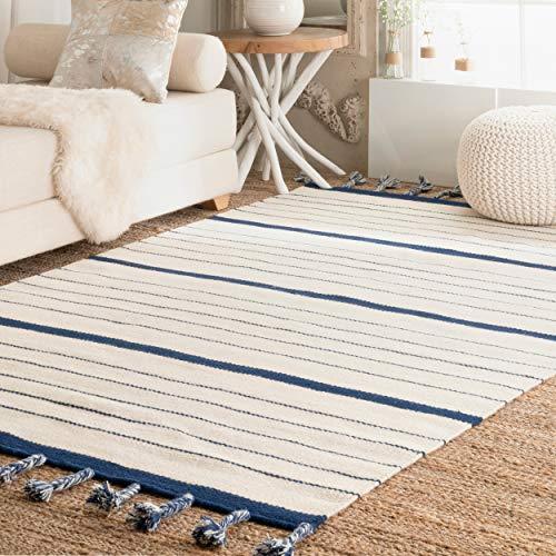 (nuLOOM JLVN01B Striped Alea Wool Rug, 5' x 8', Blue)