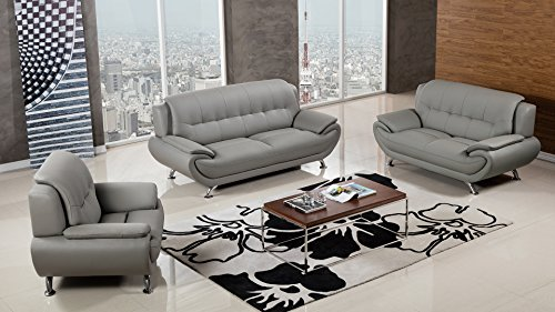 American Eagle Furniture Highland Complete 3 Piece Living Room Faux Leather Sofa Set, Gray