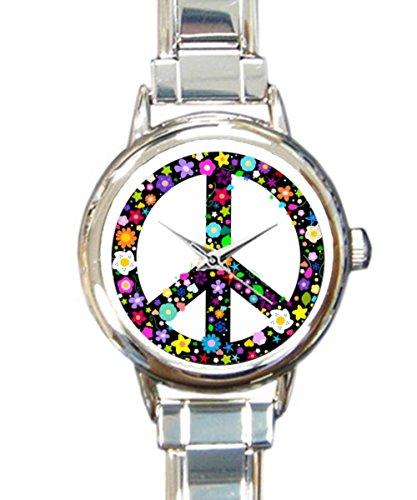 Coolstuffs Flowery Peace Sign Women Ladies Italian Charm Bracelet Wrist Watch Analog Quartz Classic Watch