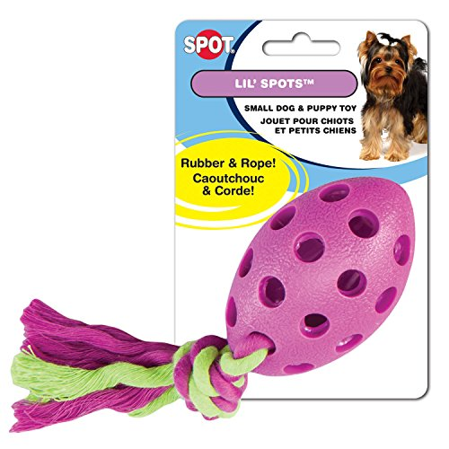 Ethical Pets Lil Spots Rubber Football with Rope Puppy and Small Dog Toy ()