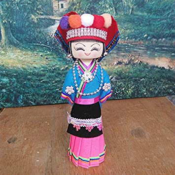 28cm Male Doll 28cm//11.02 Handmade Chinese Ethnic Minority Group Male Wooden Doll Craft Art Smile Girl Figurine Collectibles Birthday