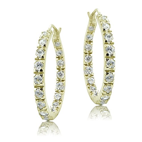 Gold Prong Loop (Yellow Gold Flashed Sterling Silver Cubic Zirconia Inside Out 25mm Round Hoop Earrings)