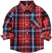 Tortor 1Bacha Kid Girl Boy Long Sleeve Button Down Plaid Flannel Shirt