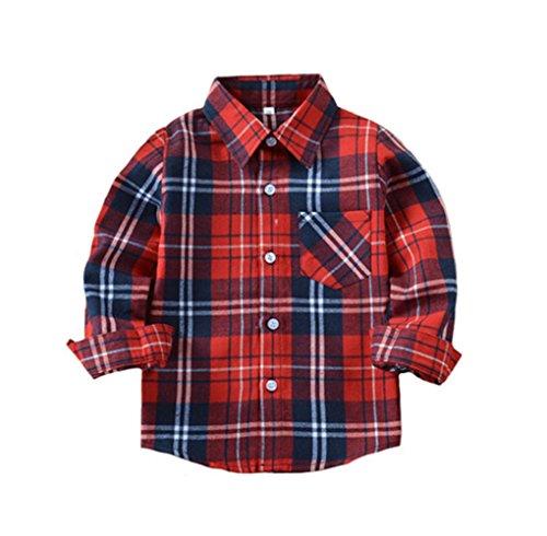 Tortor 1Bacha Kid Girl Boy Long Sleeve Button Down Plaid Flannel Shirt (Red White, 5 Years)