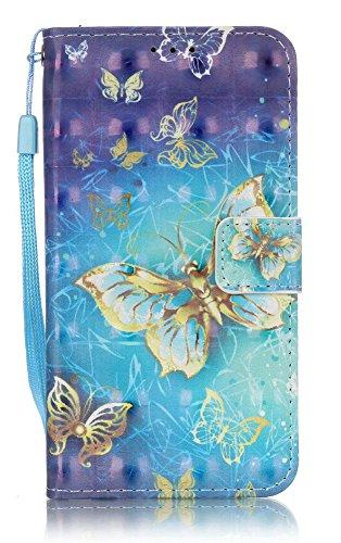 (S5 Phone Wallet, s5 Cases Wallet, Galaxy S 5 Case, JanCalm [Wrist Strap] [Kickstand] [3D Painted] Pattern Premium PU Leather Wallet [Card/Cash Slots] Flip Cover + Pen (Gold Butterfly))