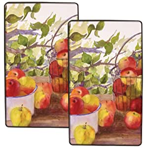 Range Kleen 5529 Set of Two Rectangular Burner Kovers in Apple Harvest Pattern by Judy Boswell, 2-Pack
